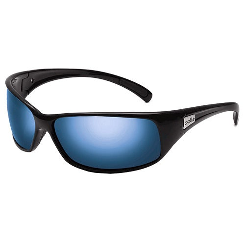 Recoil Shiny Black Polarized Offshore Blue Sunglasses