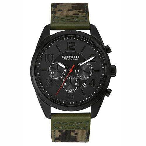 Mens Camo Canvas Strap Watch, Black Dial