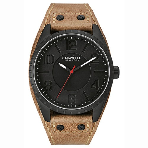 Mens Brown Leather Strap Watch, Black Dial