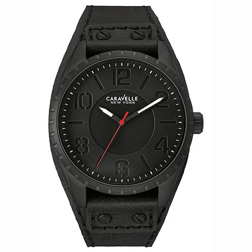 Mens Black Leather Strap Watch, Black Dial