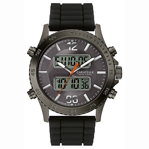 Mens Analog-Digital Black Watch, Gray Dial
