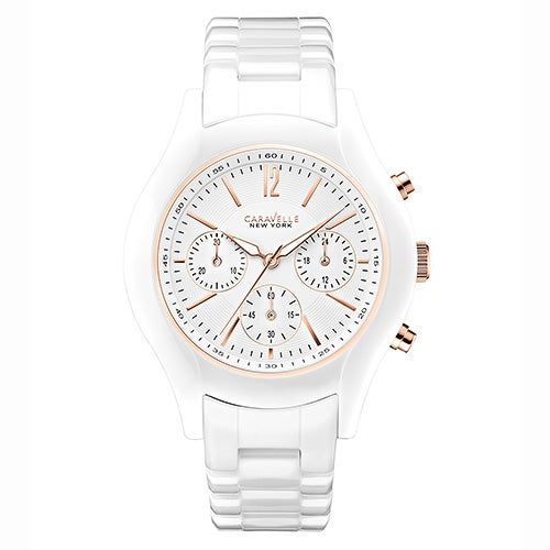 Ladies White Ceramic Watch, White Dial