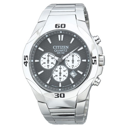 Mens Charcoal Dial with Steel Bracelet