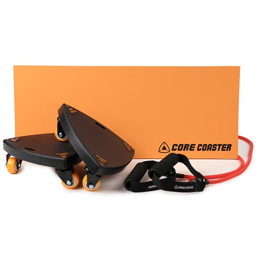 Set of 2 Core Coasters with Resistance Band & Knee Mat