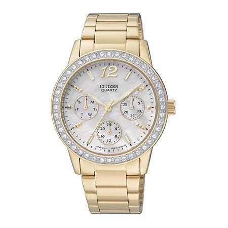 Ladies Swarovski Crystal Gold Tone Stainless Steel Watch
