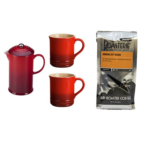 French Press & Mug Set Cherry/KC Blend Coffee Grounds