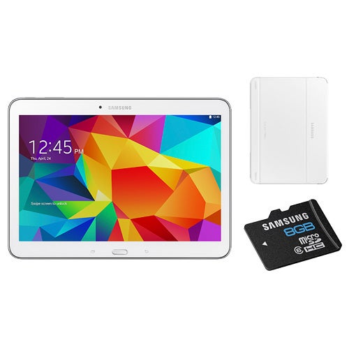 10.1 Galaxy Tab 4 White with Cover and 8 GB Micro SD