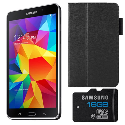 """7"""" Galaxy Tab 4 Black with Cover and 8 GB Micro SD"""