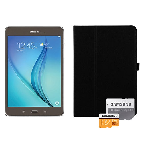 Galaxy Tab A 8.0, Smoky Titanium w/ Book Cover and 8GB MicroSD