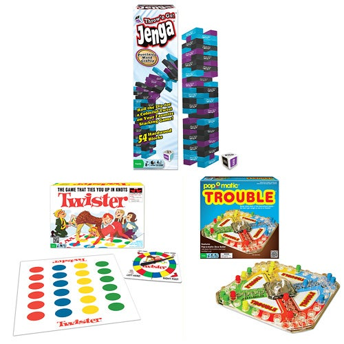 Classic Game Pack-Trouble, Twister, Throw N Go Jenga