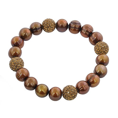 "Sterling Silver 7.25"" Pearl Bracelet, Chocolate"
