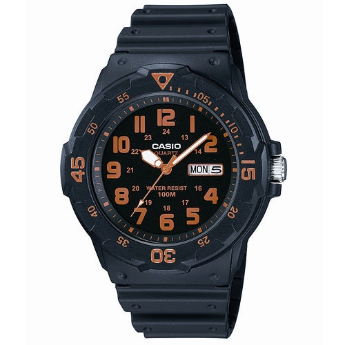 Classic Diver Analog Watch, Black/Orange