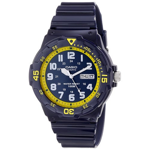 Classic Diver Analog Watch, Blue/Yellow