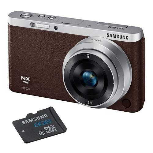 NX Mini Brown 20MP w/ Interchangeable Lens and 8GB SD Card