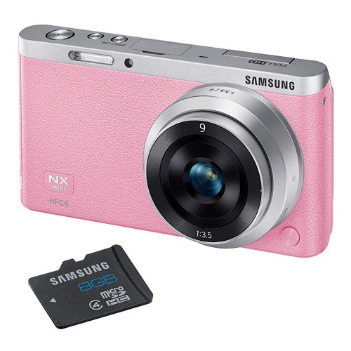 NX Mini Pink 20MP w/ Interchangeable Lens and 8GB SD Card