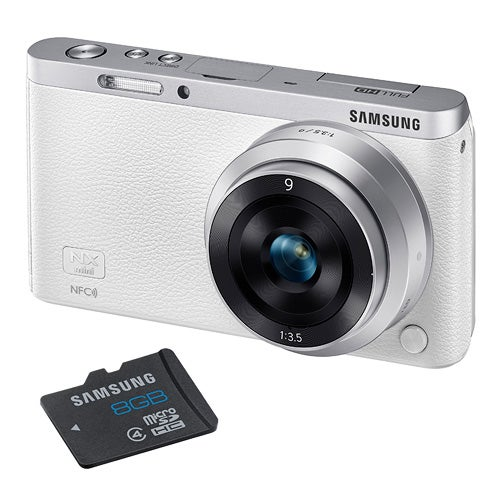 NX Mini White 20MP w/ Interchangeable Lens and 8GB SD Card