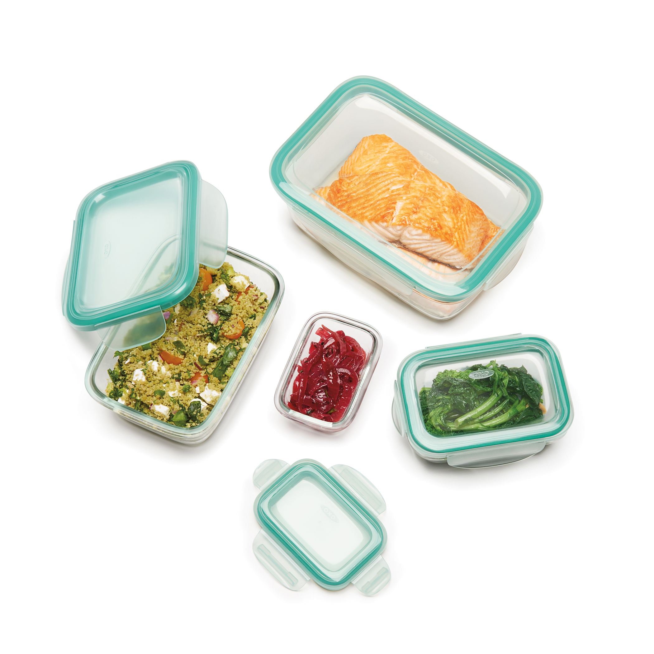 Good grips 8 piece snap glass rectangle container set for Alpine cuisine glass bowl set