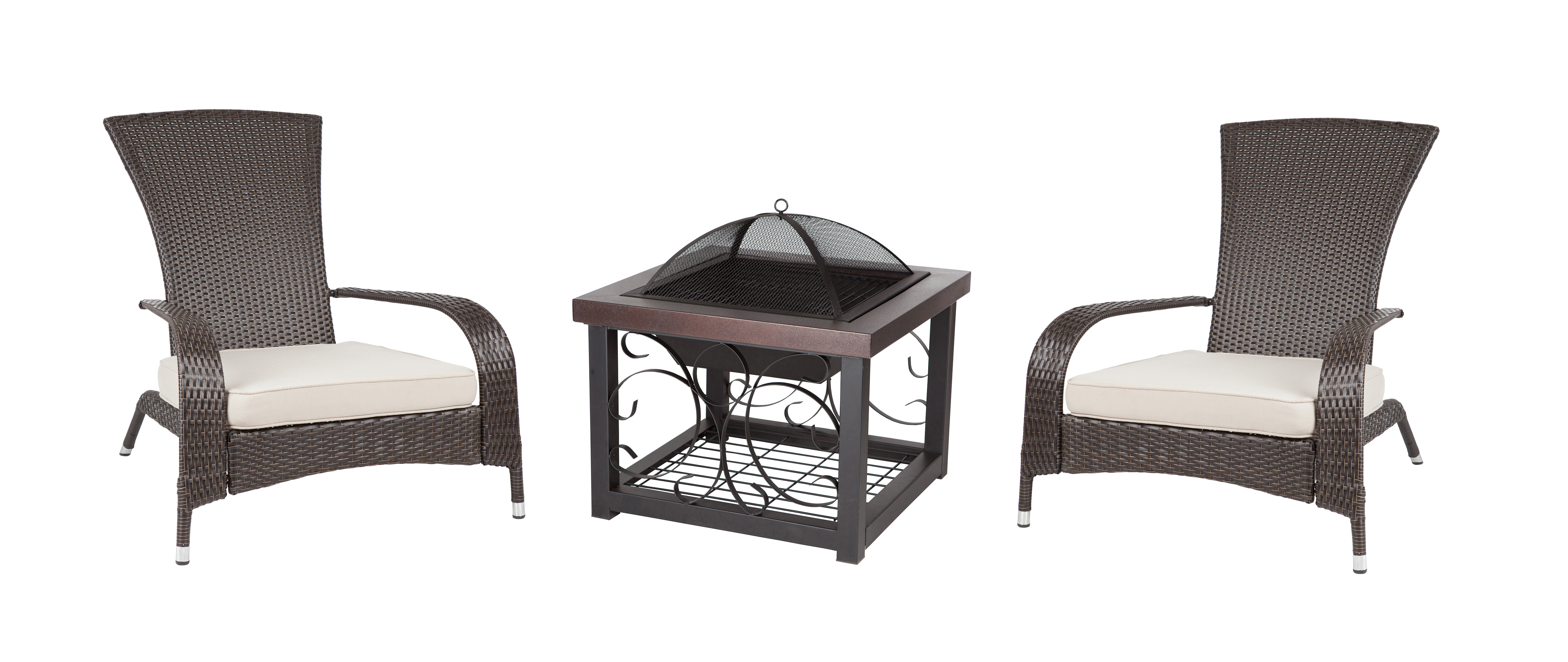 Cocktail Table Fire Pit And Set Of 2 Coconino Wicker