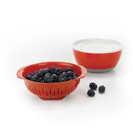 3 Pc. Berry Bowl and Colander Set, Red