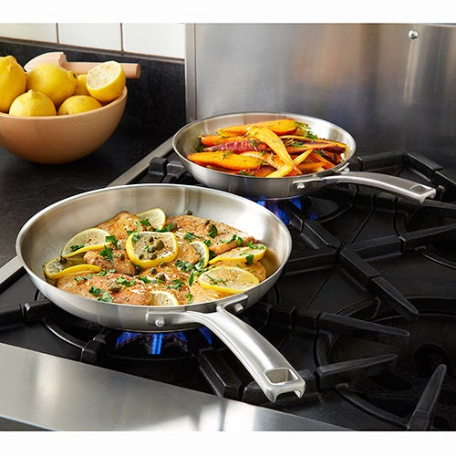 """Classic Stainless Steel 8"""" & 10"""" Fry Pan Combo"""