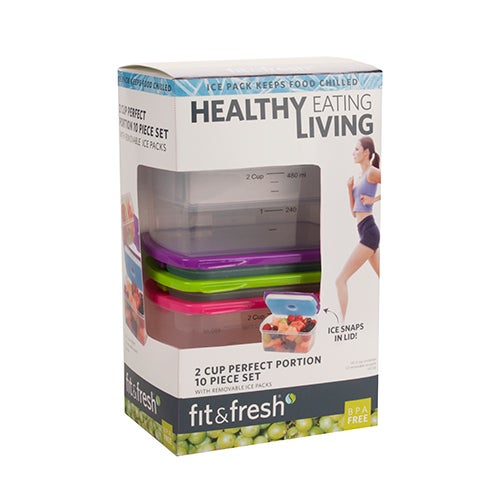 Healthy Living 2-Cup Container Set, 10-Piece
