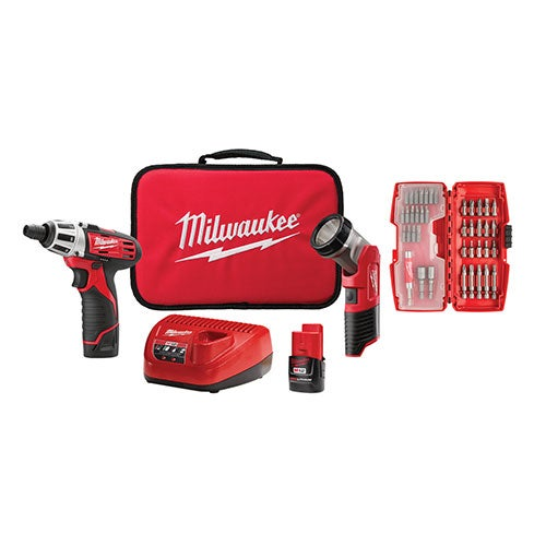 M12 2-Tool Combo Kit w/ 42-Bit Set - Screwdriver & LED Worklight