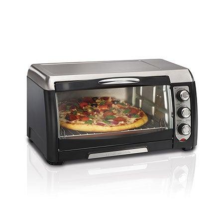 "6 Slice / 12"" Pizza Toaster Oven, Black/SS"