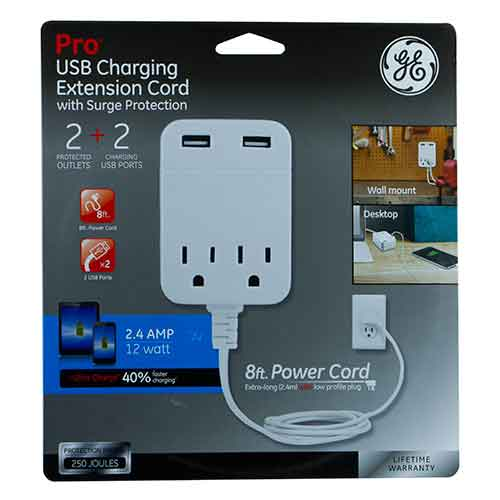 8Ft Extension Cord w/ 2 AC Outlets & 2 USB Ports