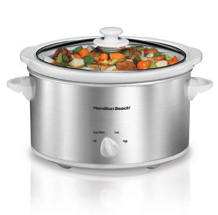 4 Quart Slow Cooker - White/Silver