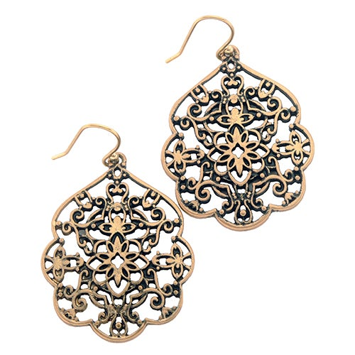 Thai Butterfly Earrings, Antiqued Gold
