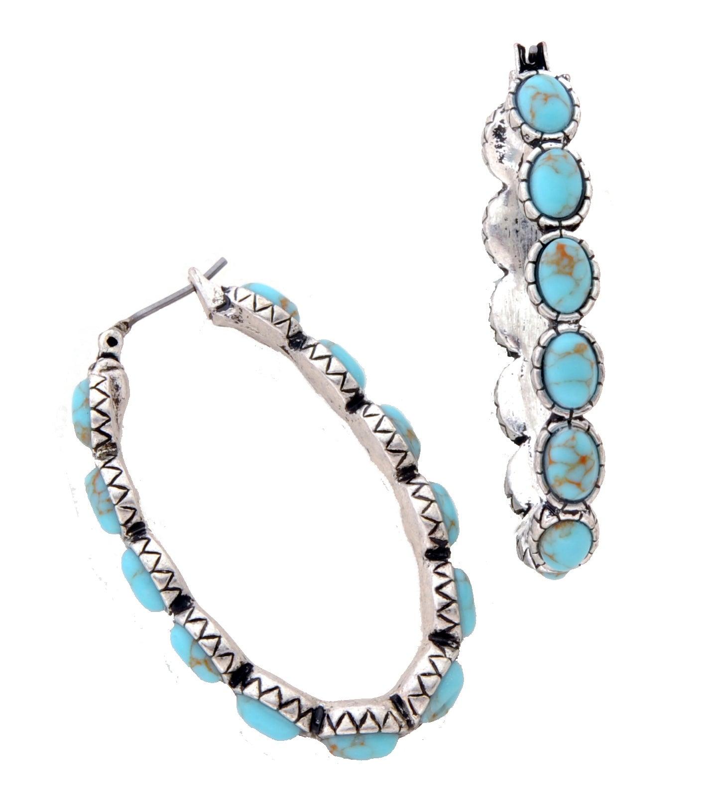Turquoise Oblong Hoop Earrings