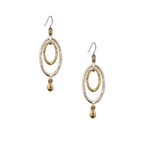 Two-Tone Oval Drop Earrings