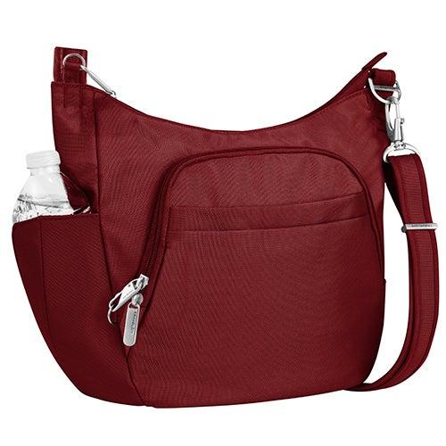 Anti-Theft Classic Crossbody Bucket Bag, Cranberry