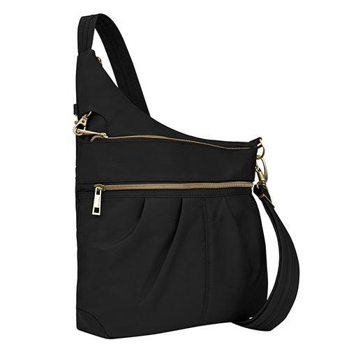 Anti-Theft Signature 3 Compartment Crossbody Bag, Black