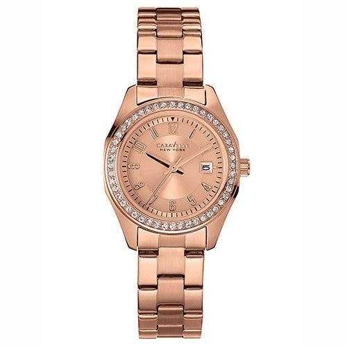 Ladies Rose-Gold Bracelet Watch w/ Crystals