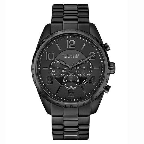 Mens Black Stainless Steel Bracelet Watch, Black Dial