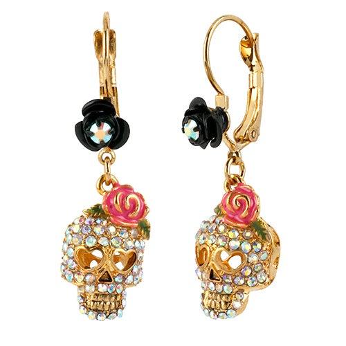 Crystal Skull Drop Earrings