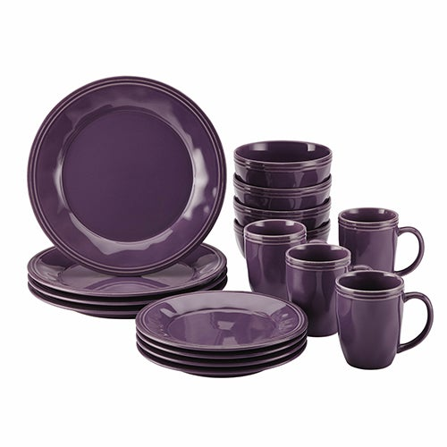 Cucina 16-Piece Stoneware Dinnerware Set, Purple