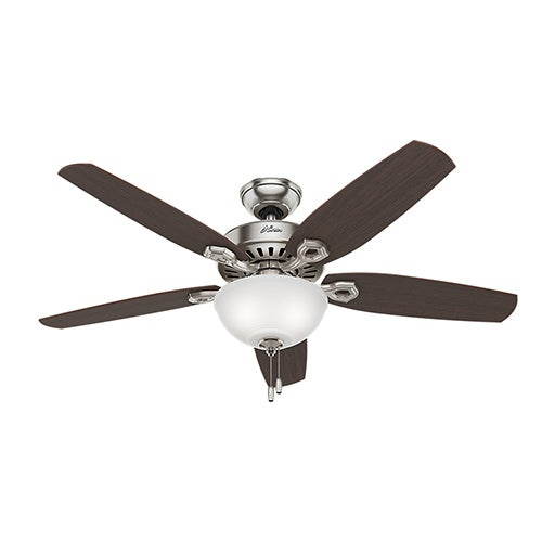 """Builder Deluxe 52"""" Ceiling Fan, Brushed Nickel Finish"""