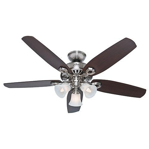 """Builder Plus 52"""" Ceiling Fan, Brushed Nickel"""