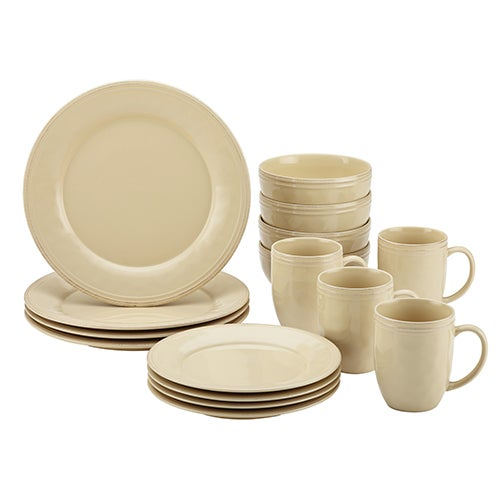 Cucina 16-Piece Stoneware Dinnerware Set, Cream