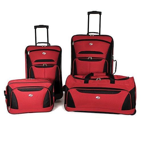 Fieldbrook II 4 Pc Luggage Set, Red/Black