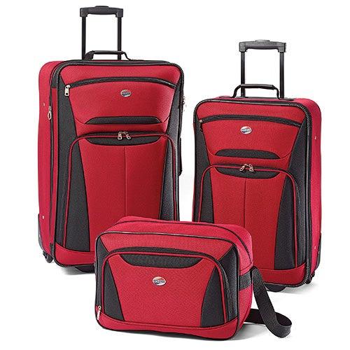 Fieldbrook II 3 Pc Luggage Set, Red/Black