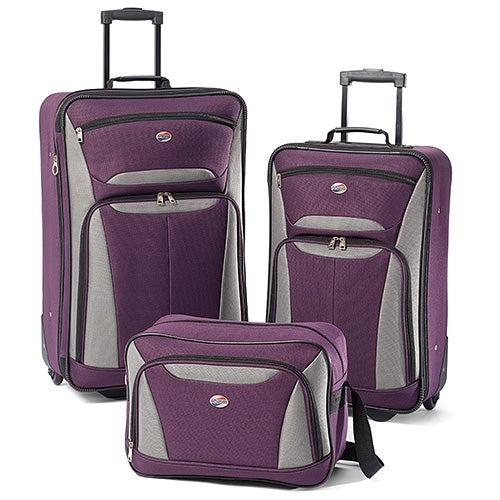 Fieldbrook II 3 Pc Luggage Set, Purple/Gray