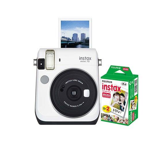 Instax Mini 70 w/ 20 Count Exposure Film, White