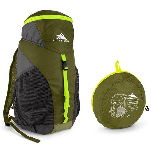 Pack-N-Go 20L Sport Backpack, Moss/Mercury/Chartreuse