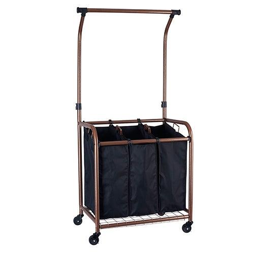 3-Bag Laundry Sorter w/ Clothes Rack, Copper