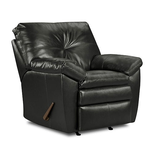 Leather Rocker Recliner, Ebony Black