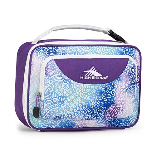 Single Compartment Lunch Bag, Flower Daze/Deep Purple/White
