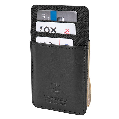 Safe ID Accent Money Clip Wallet, Black